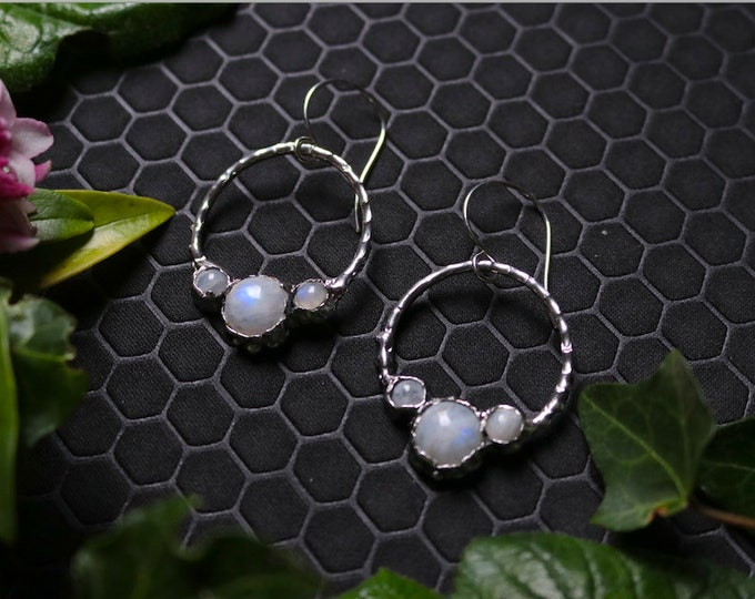 Circle Blue Moonstone and Sterling Silver Earrings