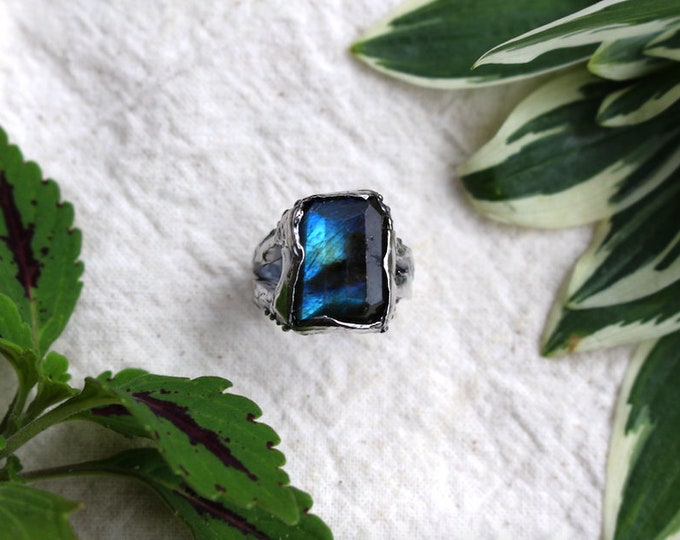 Faceted Labradorite and Sterling Silver Ring