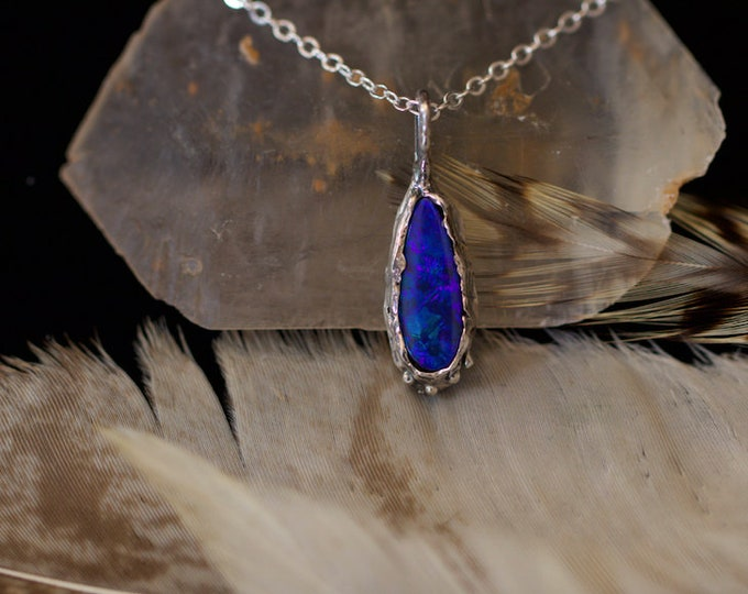 Australian Opal and Recycled Sterling silver Pendant