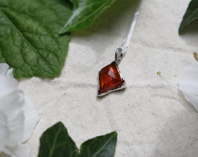 Rosecut Hessonite Garnet and Sterling Silver Pendant