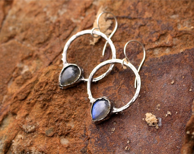 Circle Labradorite and Sterling Silver Earrings