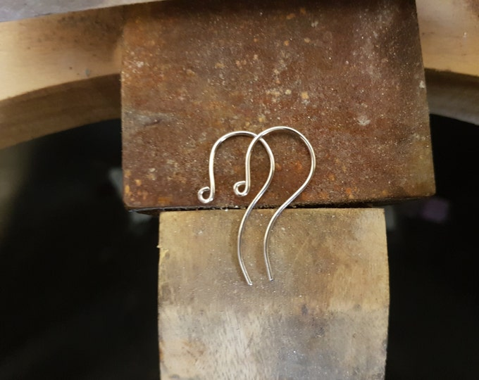 925 Sterling Silver Earring Hook Finding, Small Round. X 1 Pair.