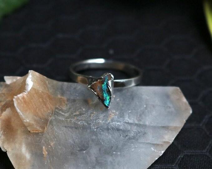 Striking Australian Boulder Opal and Sterling Silver Stack Ring