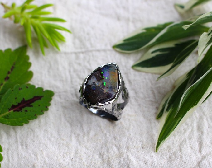 Large Australian Boulder Opal and Sterling Silver Ring