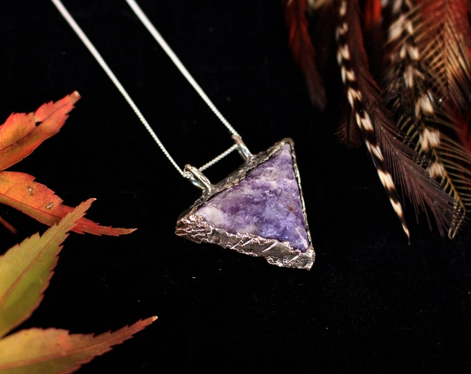 Hand Cut Lepidolite and Recycled Sterling Silver Pendant.