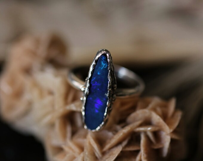 Australian Opal And Recycled Sterling Silver Ring