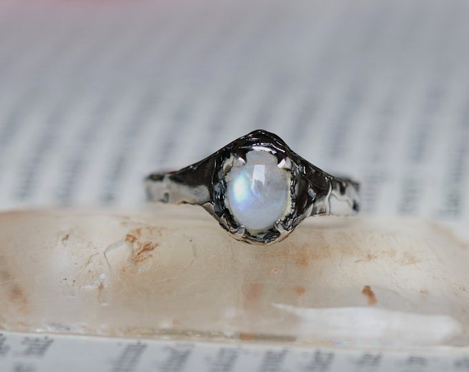 Rough Set Moonstone and Sterling Silver Mens Ring