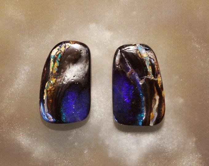 Split Yowah Nut Boulder Opal Pair