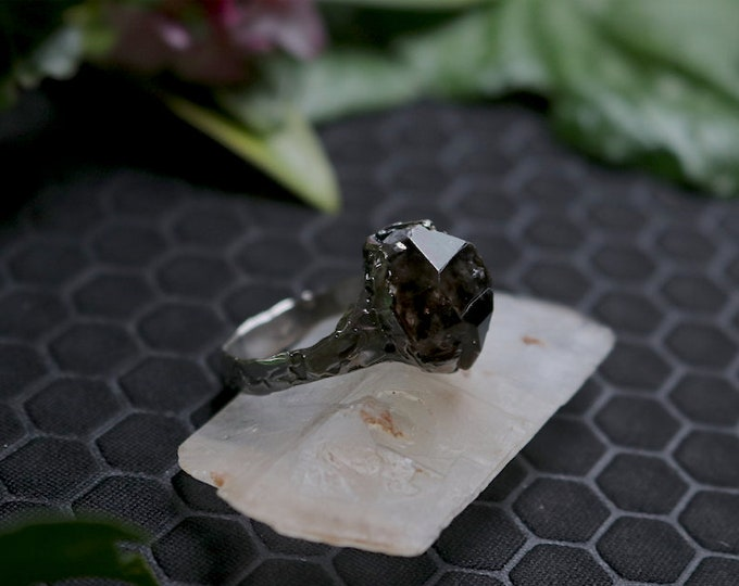 Rough Smoky Quartz and Sterling Silver Mens Ring