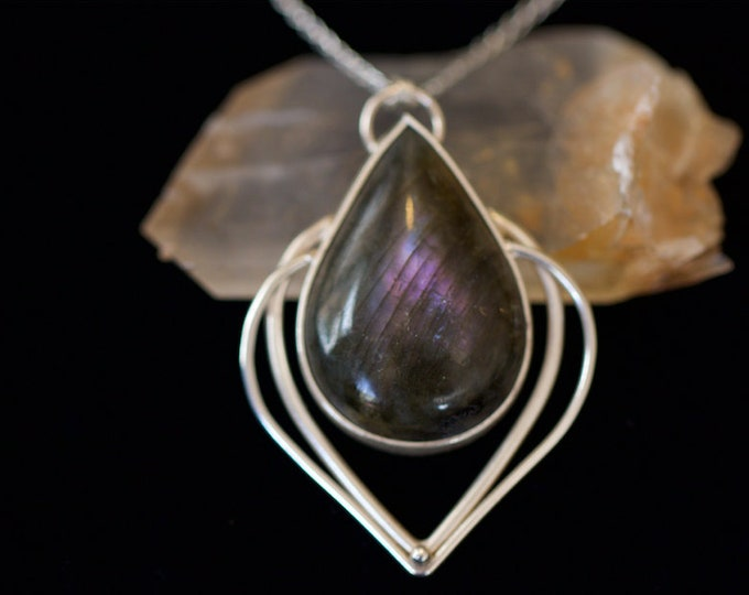Purple Labradorite and Recycled Sterling Silver Lotus Style Pendant