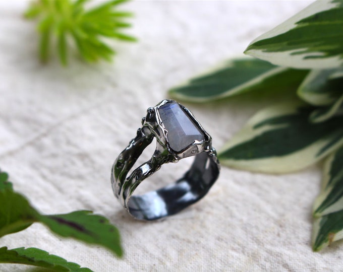 Faceted Moonstone and Sterling Silver Ring