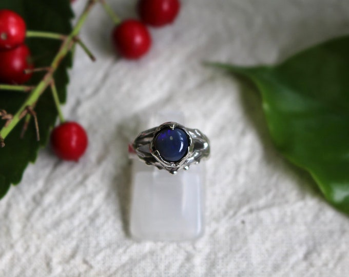 Solid Black Opal and Sterling Silver Pinky Ring