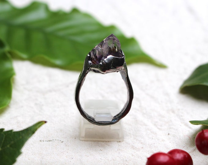 Rough Amethyst and Sterling Silver Ring