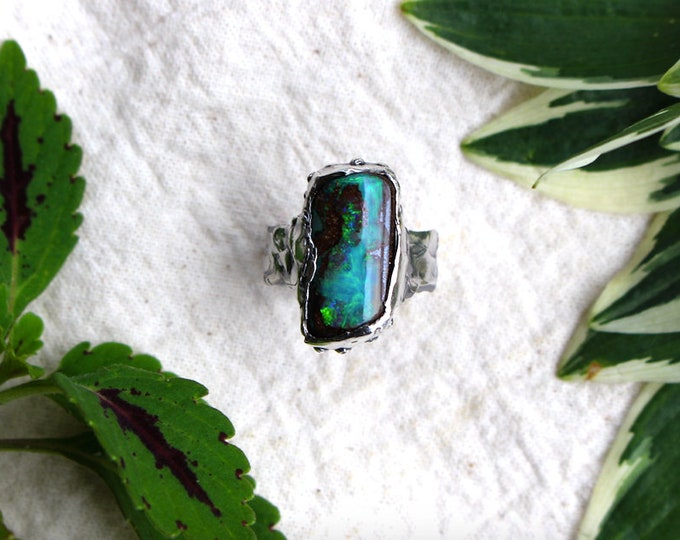 Flashy Australian Boulder Opal and Sterling Silver