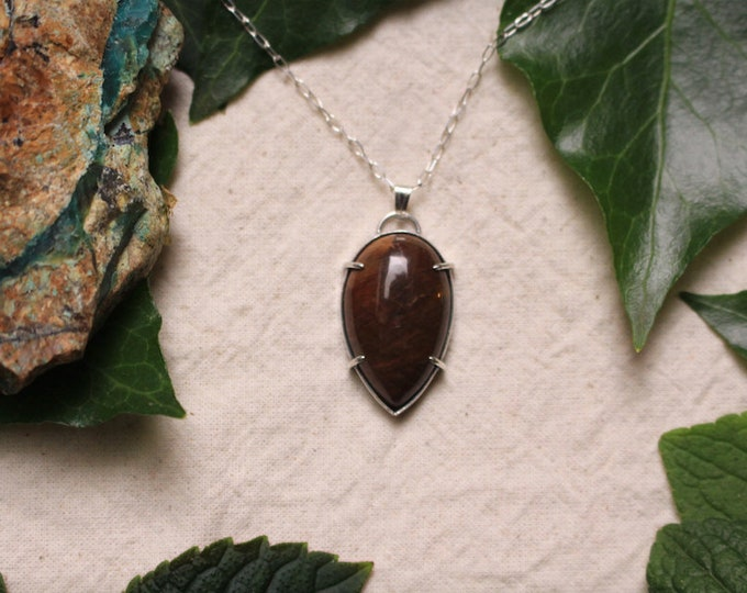 Simple Petrified Wood and Recycled Sterling Silver Pendant