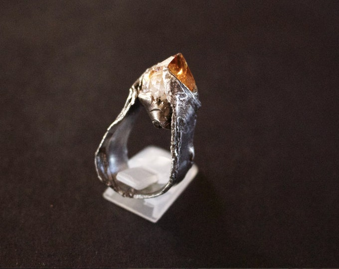 Epic Rough Terminated Citrine and Sterling Silver Statement Ring.