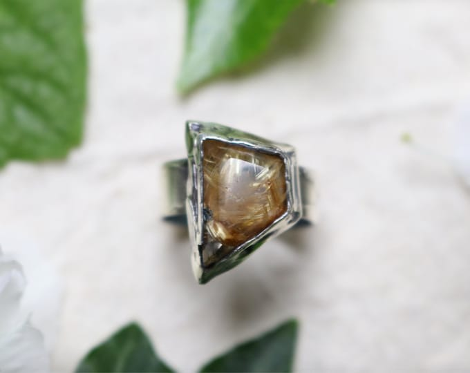 Faceted Rutile Quarts and Sterling Silver Ring