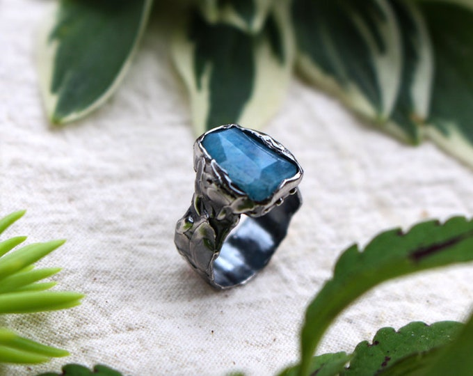 Faceted Blue (dyed) Moonstone and Sterling Silver Ring