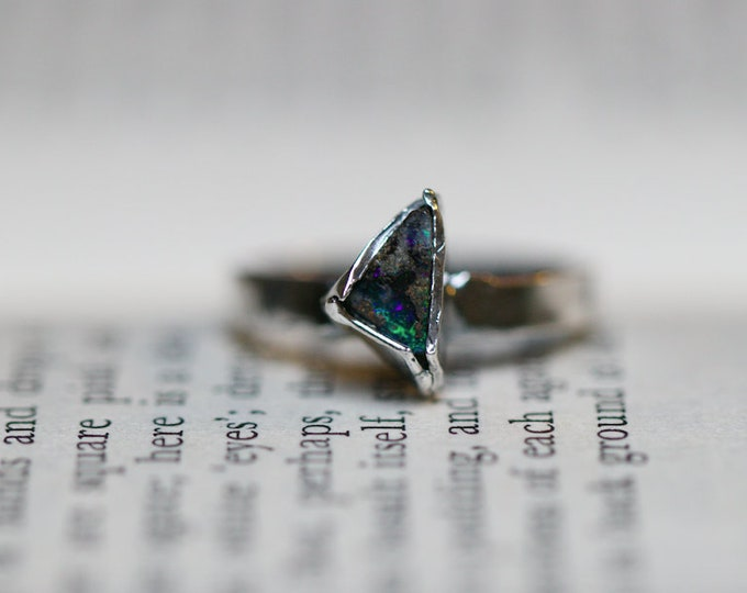 Rough Australian Boulder Opal and Sterling Silver Stack Ring