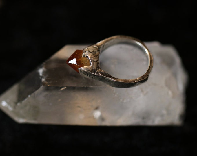 Rough Citrine and Sterling Silver Pinky Ring.