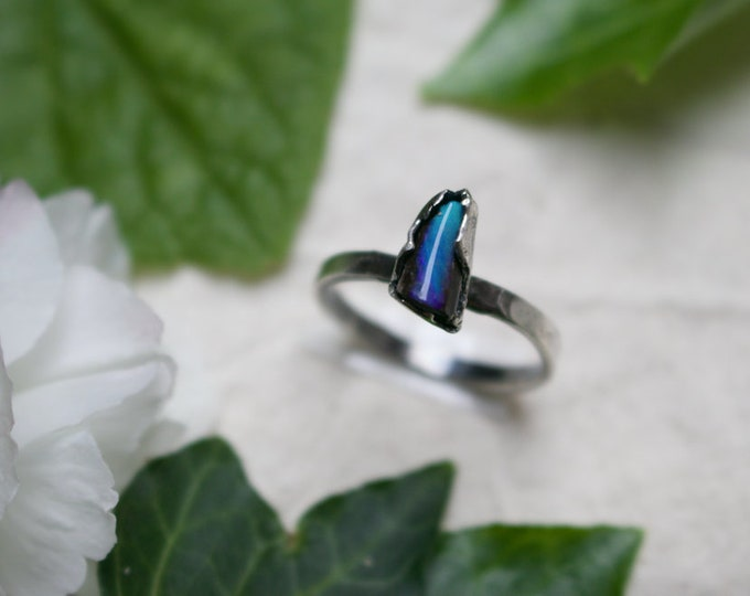 Boulder Opal and Sterling Silver Stack Ring