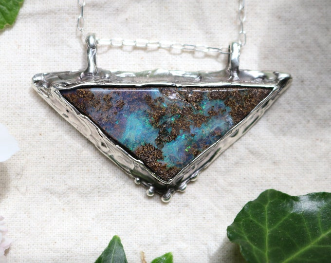 Larga Triangle Boulder Opal and Sterling Silver Pendant