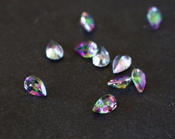 X3 Mystic Topaz green and purple Pear cut 6mm x 4mm.