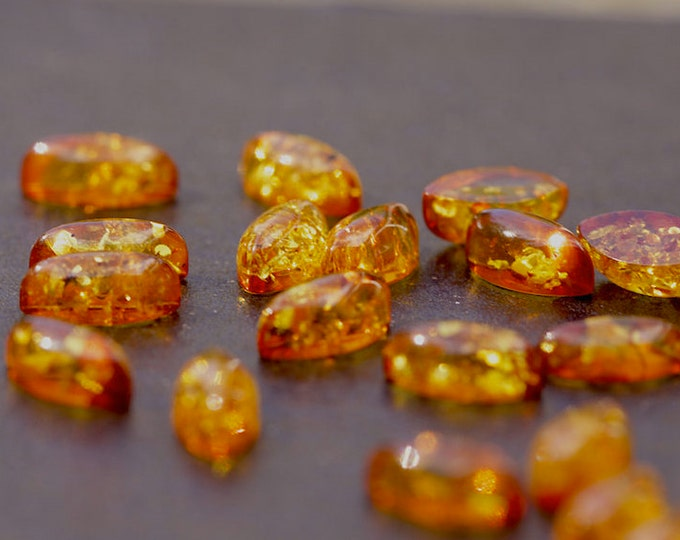 X5 Natural Baltic Amber marquise cabochon 8mm x 4mm.
