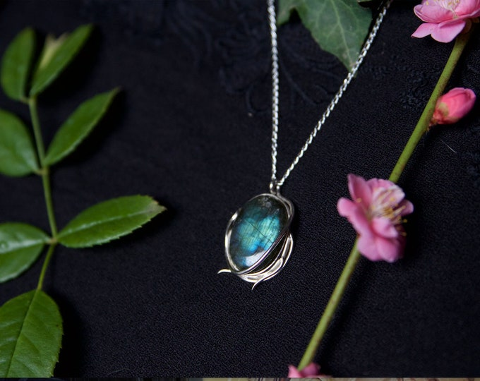 Elven Style Labradorite and Sterling Silver Pendant.