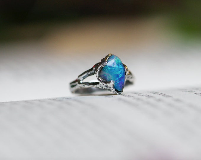 Rainbow Australian Boulder Opal and Sterling Silver Ring