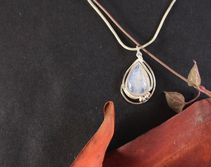Fantasy Style Rainbow Moonstone and Sterling Silver Pendant.