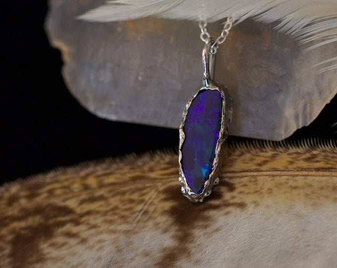 Australian Opal and Recycled Sterling Silver Pendant.