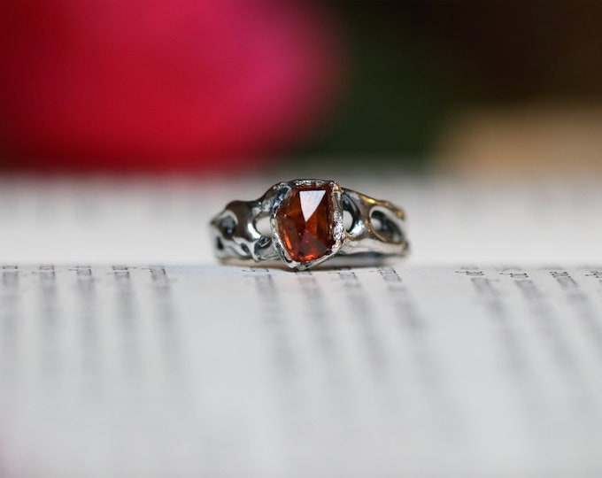 Rosecut Garnet and Sterling Silver Ring