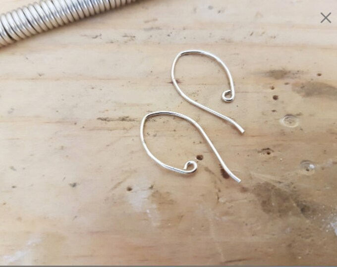 50x pairs 925 Sterling Silver Earring Hook Finding, Inverted Almond Shape.