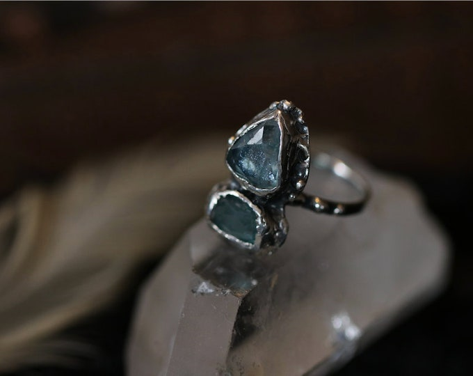 Double Rose Cut Apatite and Recycled Sterling Silver Ring