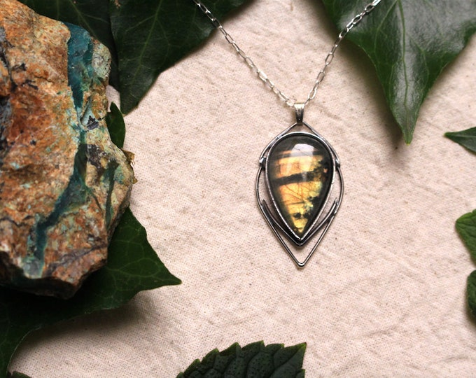 Golden Labradorite and Recycled Sterling Silver Pendant