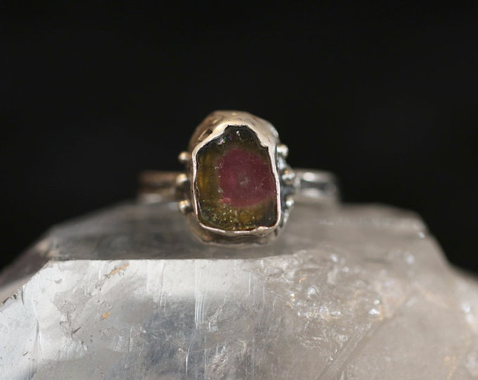 Watermelon Tourmaline Slice in Sterling Silver Ring.