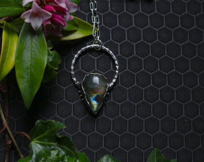 Circle Pendant with Pear Shaped Rainbow Labradorite