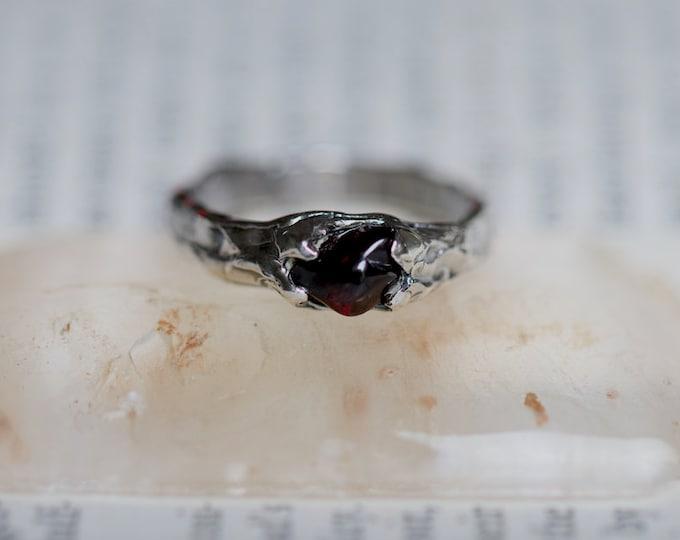 Rough Set Natural Australian Garnet and Sterling Silver Mens Ring