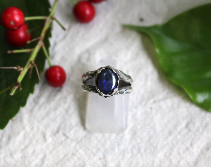 Solid Black Opal and Sterling Silver Ring