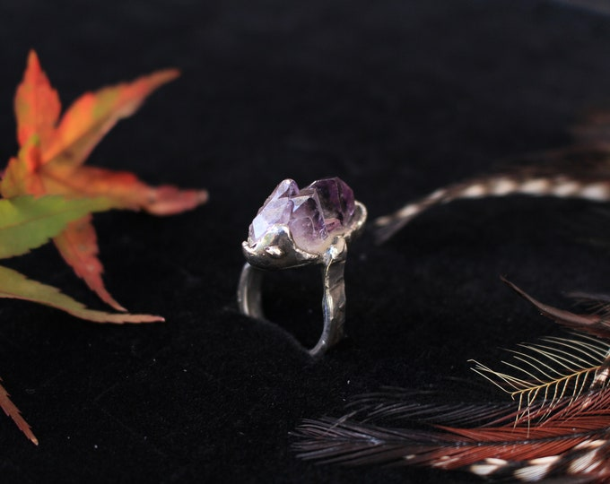 Recycled Sterling Silver and Rough Amethyst Ring.