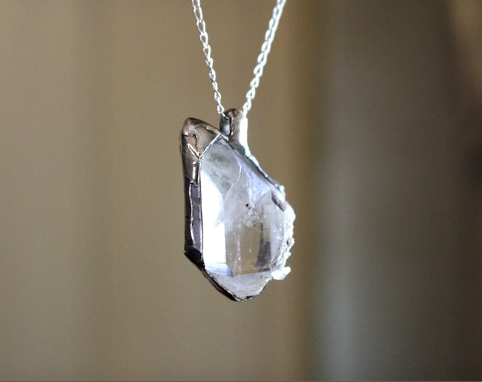 Top Quality Clear Quartz and Sterling Silver Pendant
