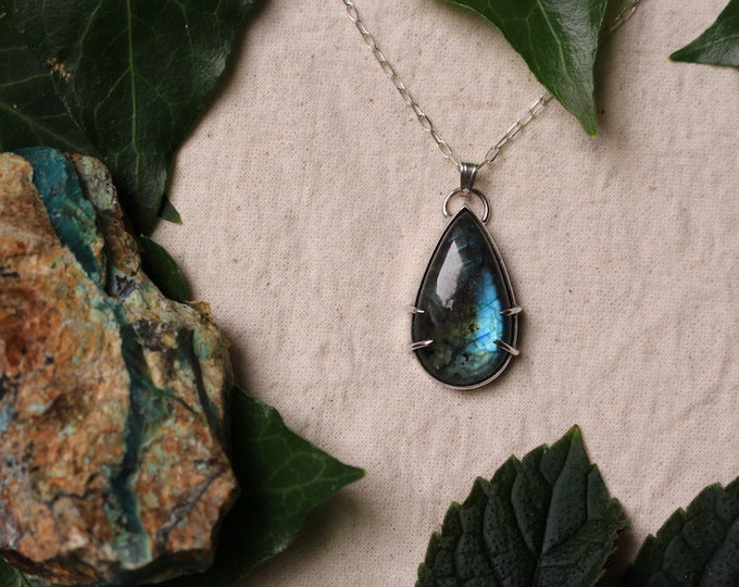 Simple Labradorite and Recycled Sterling Silver Pendant
