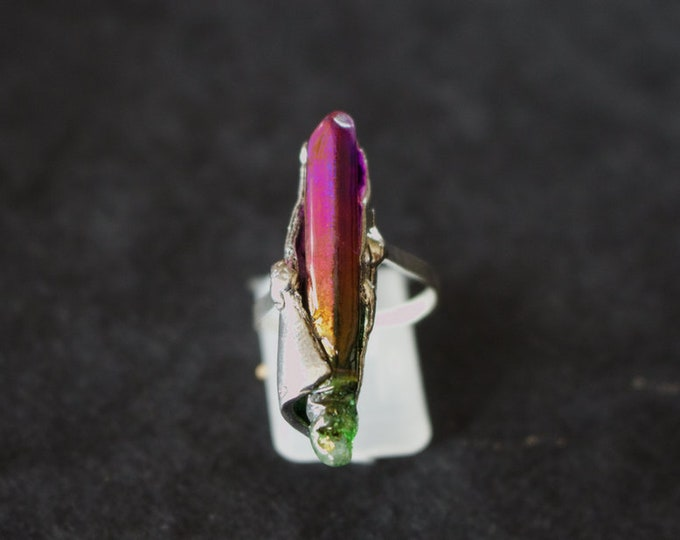 Rough Aura Quartz and Sterling Silver Ring.