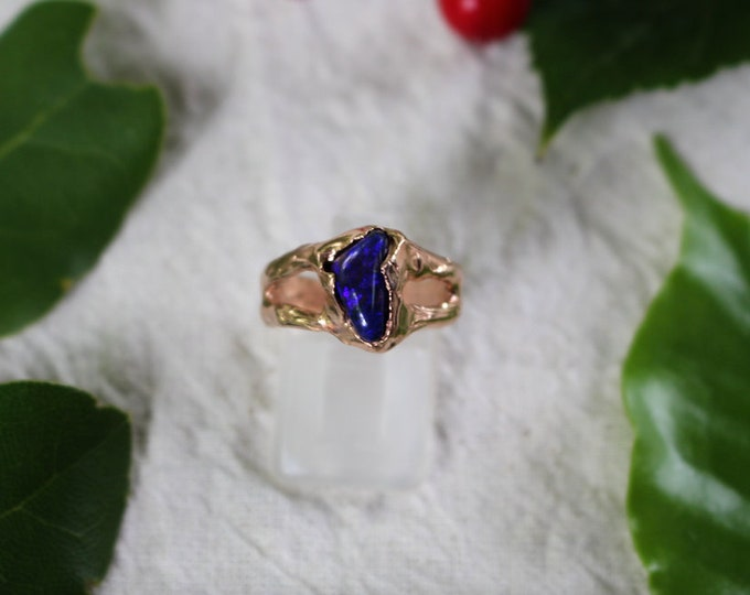 Solid Black Opal and 9ct Rose Gold Ring