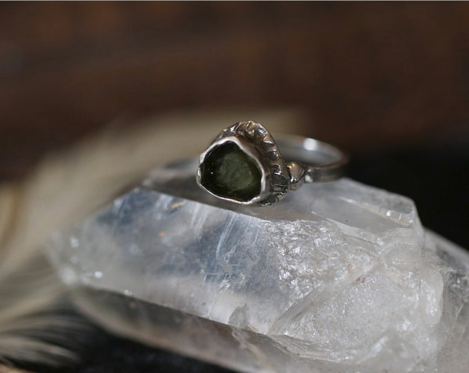 Tourmaline Slice and Recycled Sterling Silver Ring