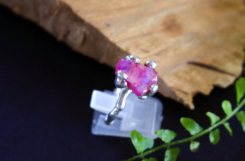 Rough Rainbow Pink Moonstone Set in Drippy Sterling Silver.
