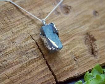 Rough Labradorite & Sterling Silver Pendant.