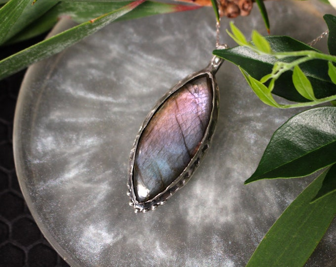 High Quality Purple Labradorite and Sterling Silver Pendant.