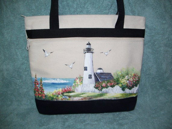 Canvas Tote Bag with Hand Painted Lighthouse